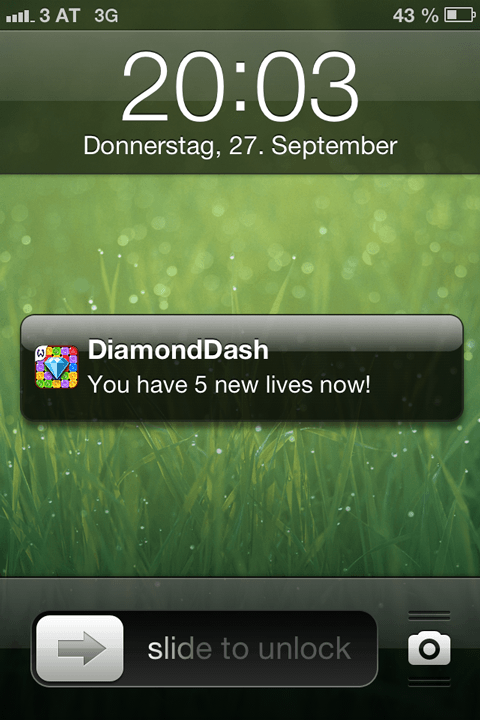 Diamond Dash: You have 5 new lives now