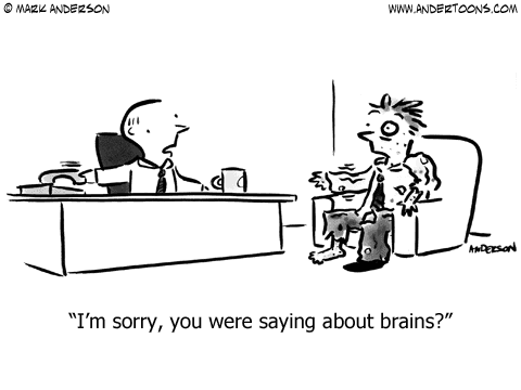 You were saying about Brains? - Business Cartoon #6311 by Andertoons