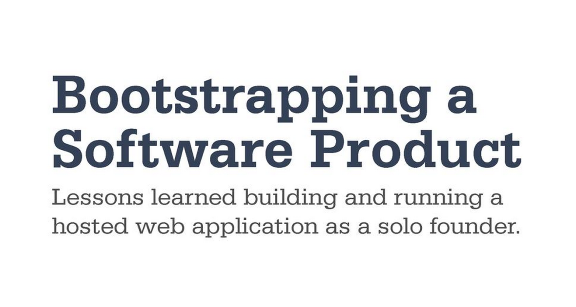 Bootstrapping a Software Product