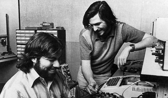 Steve Jobs with Steve Wozniak