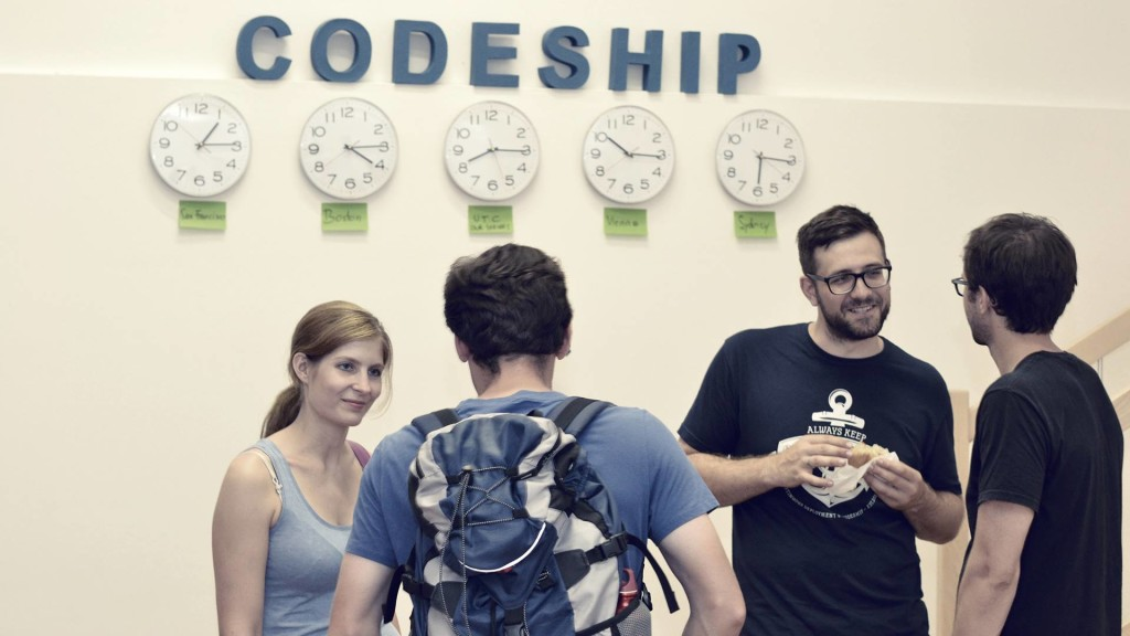 The Codeship team at their Vienna office opening party